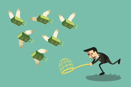 Illustration: Man tries to catch winged bundles of money with a net as tehy fly away.