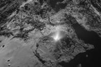 A plume of dust from Comet 67P/Churyumov–Gerasimenko, seen by the OSIRIS wide-angle camera on ESA's Rosetta spacecraft on 3 July 2016. The shadow of the plume is cast across the basin, in the Imhotep region.