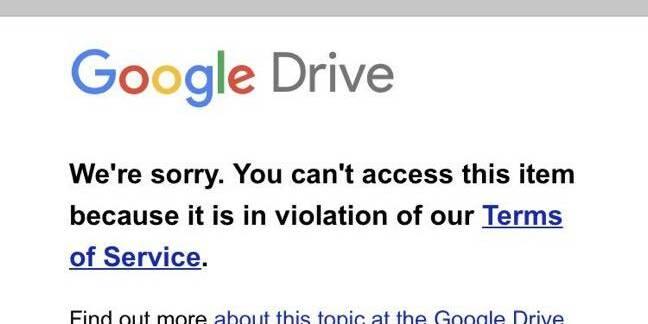 Google Drive ToS violation image