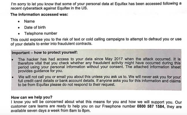 Equifax breach letter to UK customers
