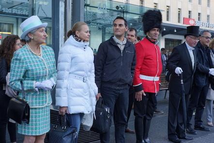 Actors waiting for Geneva Train
