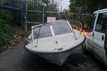 The speedboat abandoned on a Doncaster road