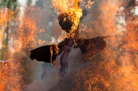"""witch"" Effigy burns.."