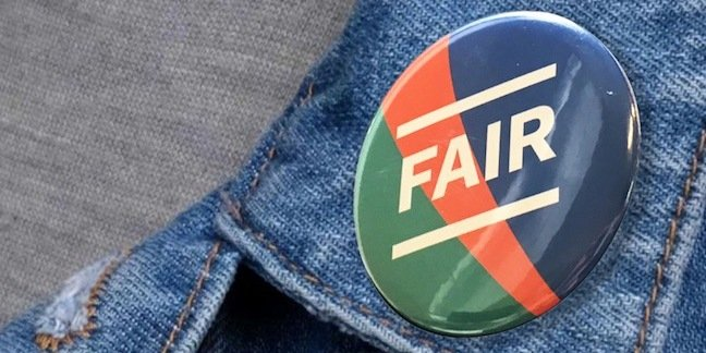 """The proposed badge on Martha lane Fox's doteveryone site. Jean jacket with a round lapel badge reading """"fair"""""""