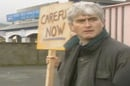 Father Ted protests with down with this sort of thing placard.