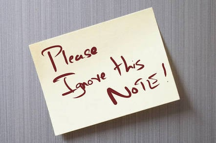 Please ignore this sticky note