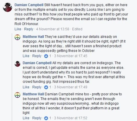 Comments under Retro Computers Ltd's Facebook post of 30 Oct 17