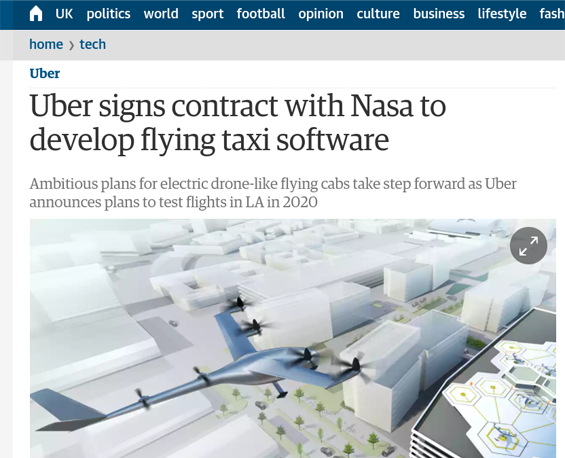 screenshot of guardian coverage of uber flying car