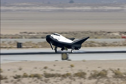 The Dream Chaser touches down at Edwards Air Force Base