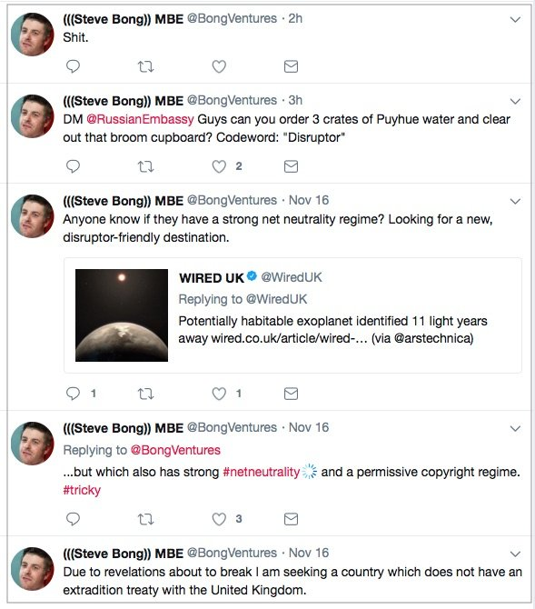 Tweets by Mr Bong indicating a strong desire to find a new country