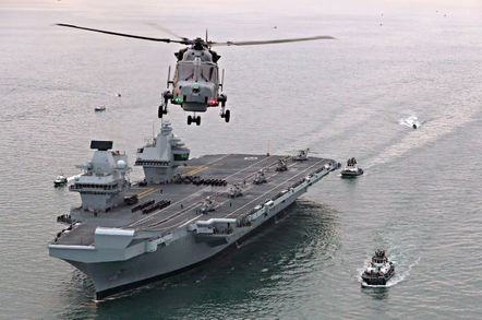 HMS Queen Elizabeth approaching Portsmouth for the first time. Crown copyright