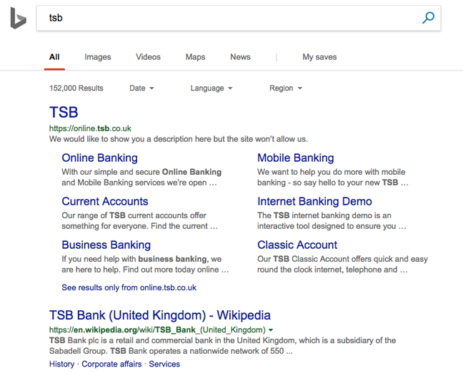 Screenshot of Bing.com GB