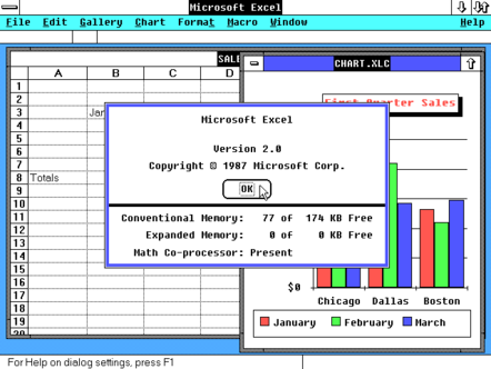 Excel about screenshot