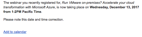 Microsoft email re vmware on azure changing date to Dec 13