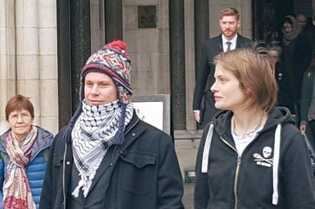 Lauri Love and girlfriend Sylvia Mann leaving the Royal Courts of Justice. Pic: Richard Priday