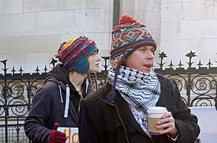 Lauri Love and girlfriend Sylvia Mann outside the Royal Courts of Justice. Pic: Richard Priday