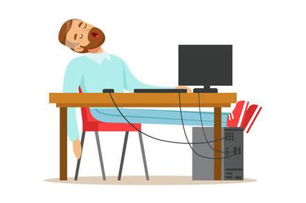 Man sleeping at desk