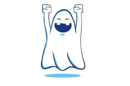 happy smiley ghost character