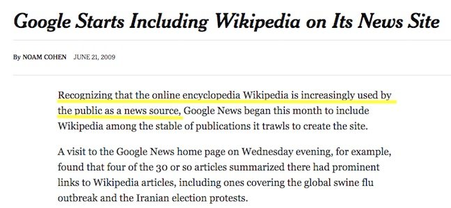 nyt wikipedia as news