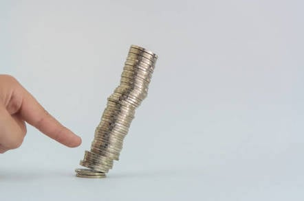 Pile of coins toppled
