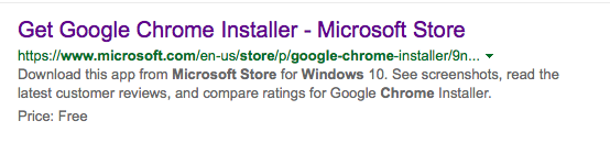 Get Chrome ad on Google search