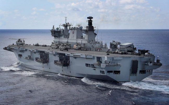 HMS Ocean on her last deployment to the Caribbean. Crown copyright