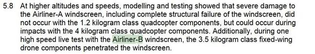 An extract showing how the Airliner-B windscreen results were cited as if they were a real test