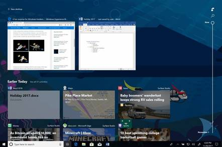 The Windows 10 timeline, coming in Spring 2018