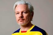 Julian Assange in an Ecuador football shirt