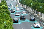 Чертеж концепции умного города - беспилотные автомобили, точки доступа Wi-Fi и т. д. - но без людей