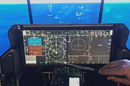 The cockpit of the F-35 simulator