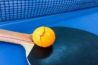 Table tennis bat with broken ball