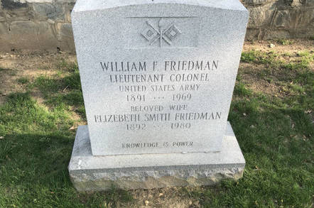 Gravestone of William and Elizebeth Friedman