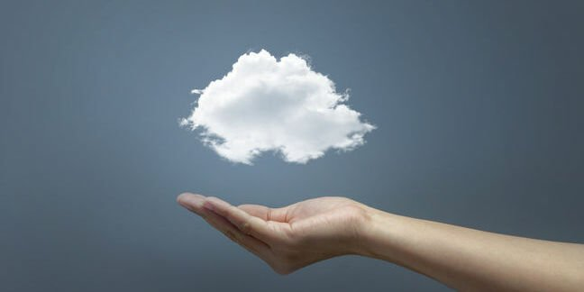 A cloud hovers above a hand