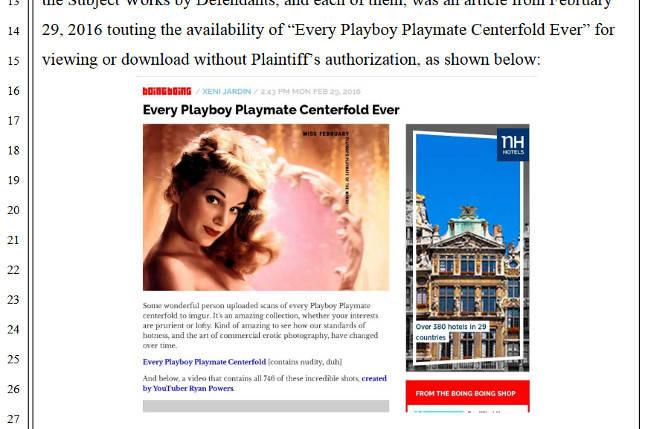A screenshot of Playboy's lawyers' screenshot of Boing Boing