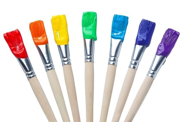 Rainbow paint brushes