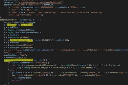 Confiant image of JavaScript fingerprinting code