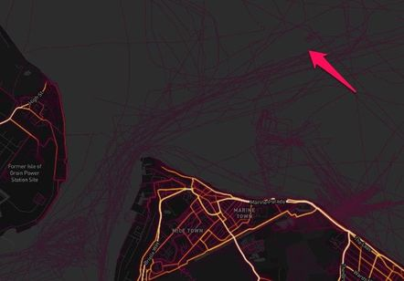Extract from the Strava heat map for Sheerness