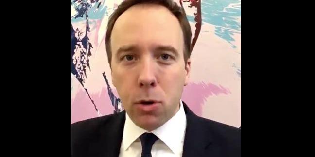 Screengrab from Brit MP MATT HANCOCK's new app