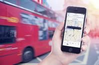 image of Uber app in London