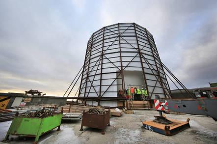 The RAF Saxa Vord radar head under construction. Crown copyright