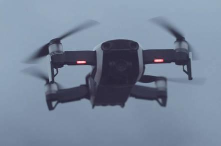 A DJI Spark drone in flight