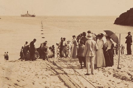 Landing Fayfal cable Porthcurno 1906, photo credit: Telegraph Museum Porthcurno