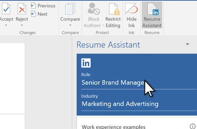 Resume Assistant in Office 365
