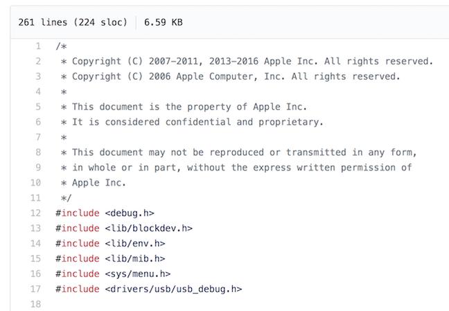 Screenshot of the leaked Apple code on Github