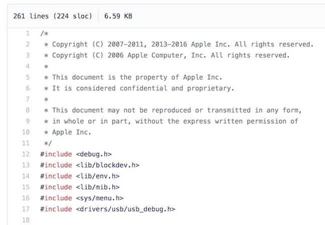 Screenshot of the leaked Apple code on Github