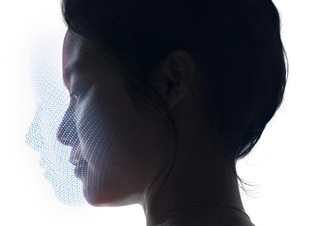 Promo from apple of iPhone X's FaceID using TrueDepth tech