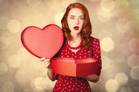 A woman with a Valentine gift