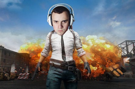 Cover of PUBG game with the PFY's head (complete with headset) superimposed on hero's shoulders