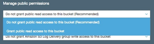 AWS' S3 bucket creation permissions dialog